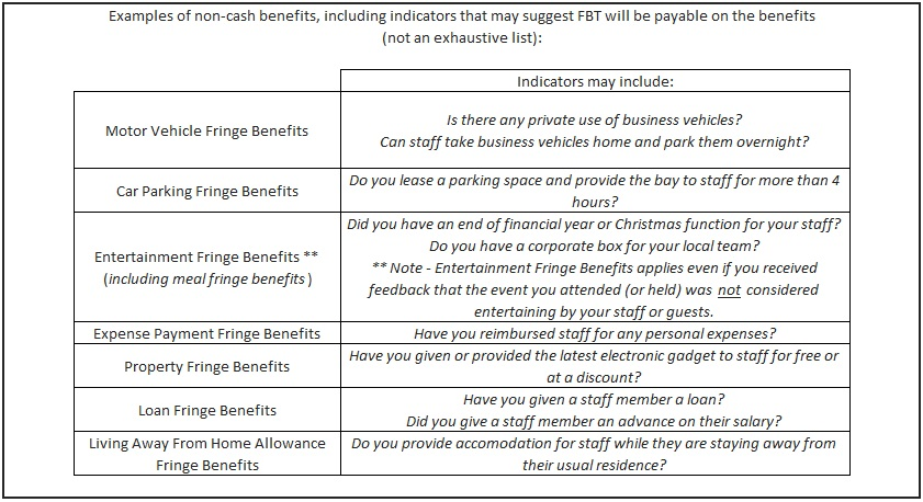 examples of non cash benefits